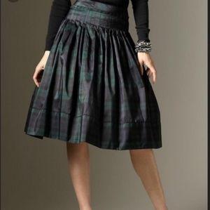 Talbots Silk Tartan Plaid  Pintuck Skirt